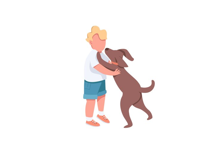 Boy play with dog flat color vector faceless characters example image 1