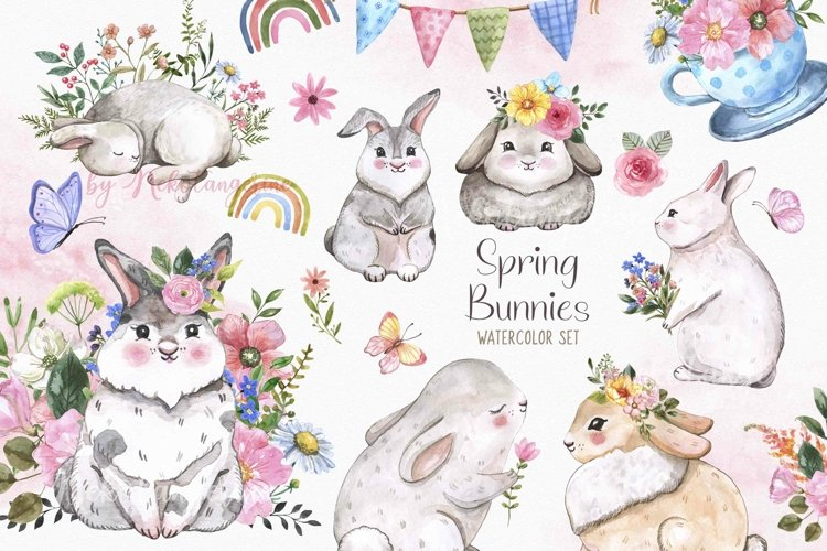 Spring Bunny Clipart Watercolor Rabbit Easter Cute Animals