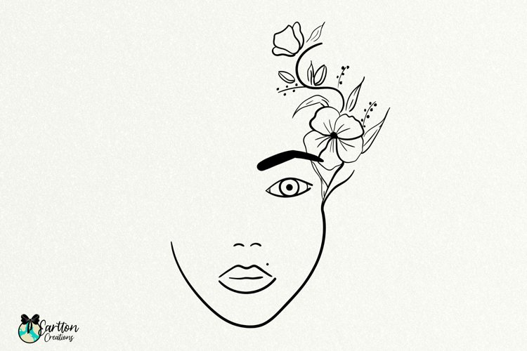 Line Art Womens Face with Flowers, Floral Face