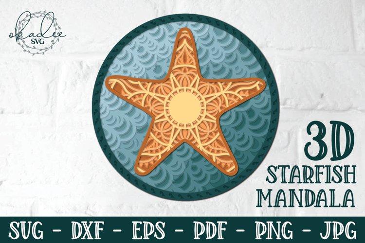 3D Starfish Mandala, Layered Mandala SVG, Starfish, Papercut