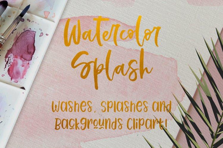 Watercolor Splash Clip Art, Vector Watercolor Backgrounds! example image 1