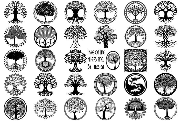 Tree of Life Silhouettes AI EPS Vector   PNG