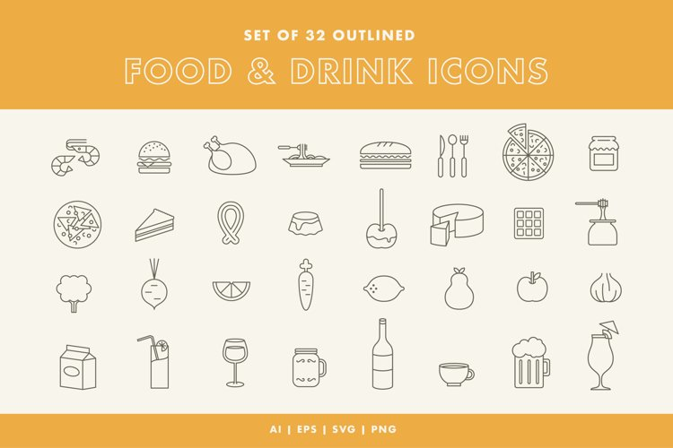 Set of 32 Food and Drink Icons