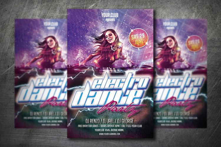 ELECTRO PARTY DANCE FLYER|Summer Festival Flyer example image 1