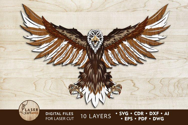 Multilayer Laser Cut File EAGLE, US Flag Art, 4th Of July