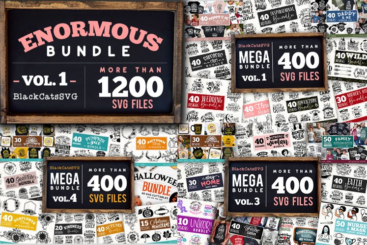 Enormous Bundle 1200 SVG designs vol 1 example image 1