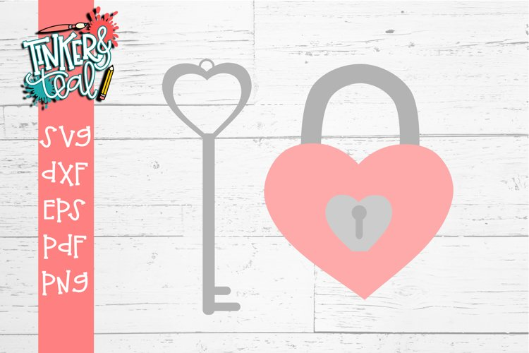 Lock and Key Valentine SVG Cut file example image 1