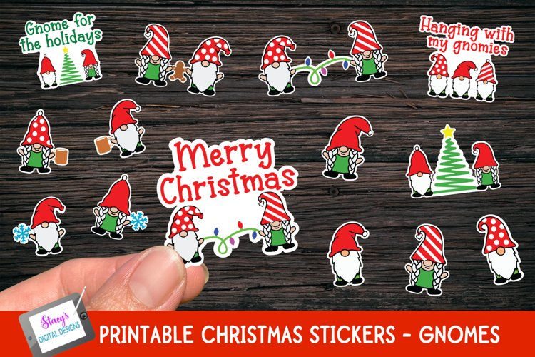 Gnome Christmas Stickers - 14 Print and cut stickers example image 1