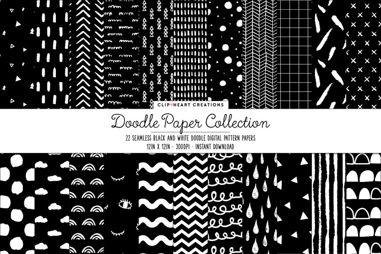Black & White Doodle Seamless Digital Papers