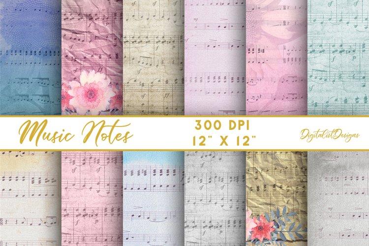 sheet music digital paper, vintage music notes scrapbook