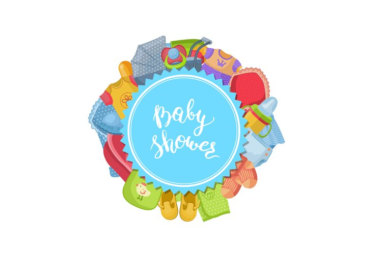 Vector baby shower illustration with baby example image 1