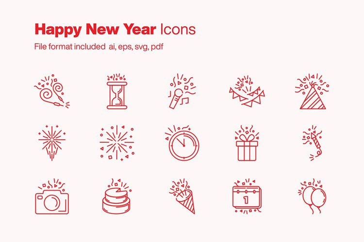 Happy New Year 15 Icons example image 1