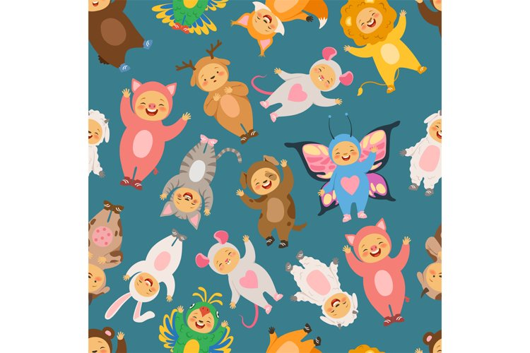 Seamless pattern with illustrations of kids in carnival cost