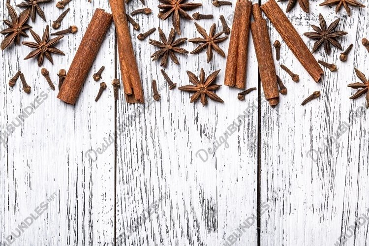 Cinnamon sticks, anise stars and cloves whole indian spices. example image 1