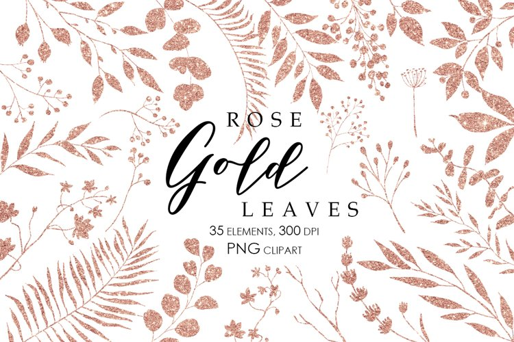 Rose Gold Glitter Leaves Clipart, Gold Glitter Elements