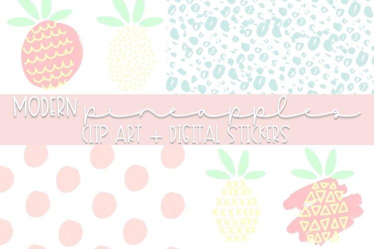 Modern Pineapple Doodle Clip Art | Modern Design example image 1