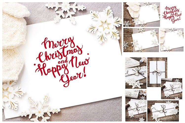 Mock up Vintage Christmas card Isolated letter text Flat lay example image 1