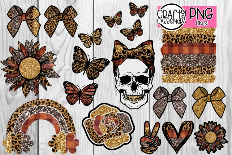 Skull Sunflower Leopard Bows Rainbow Rose Peace sublimation example image 1