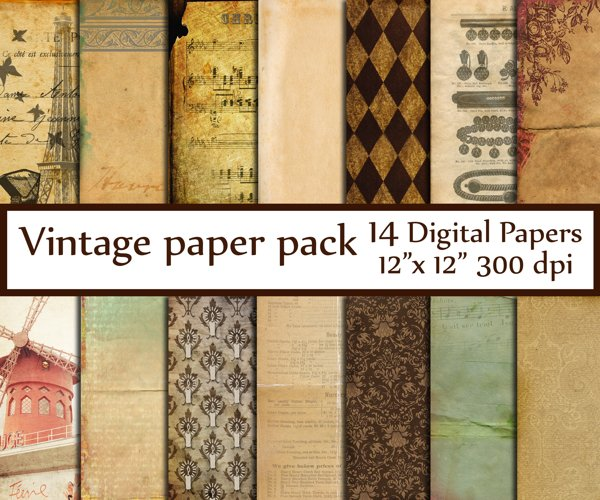 Antique Digital Paper pack example image 1