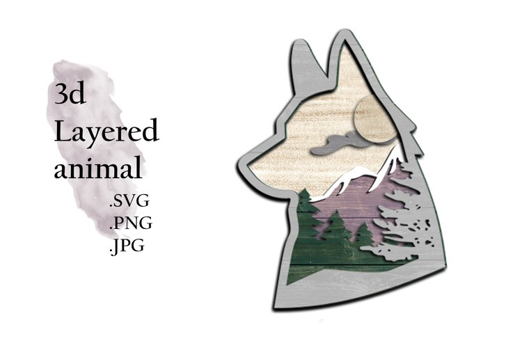 3D Layered SVG -Multilayered SVG Fox - Layered SVG Animal example image 1