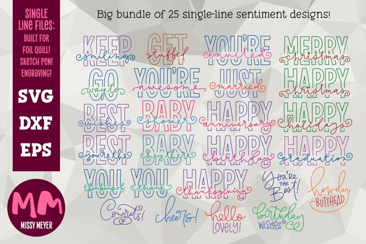 Greetings bundle- 25 single line for foil quill & sketch pen example image 1
