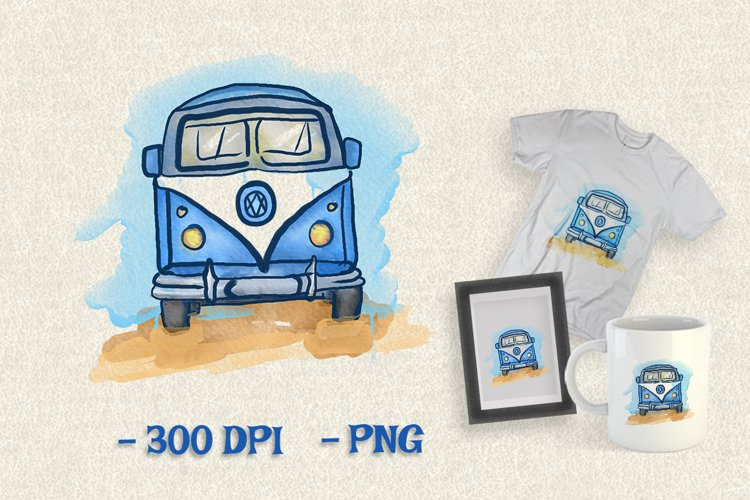 Download Vintage Van Car Watercolor Clipart Png 907091 Illustrations Design Bundles