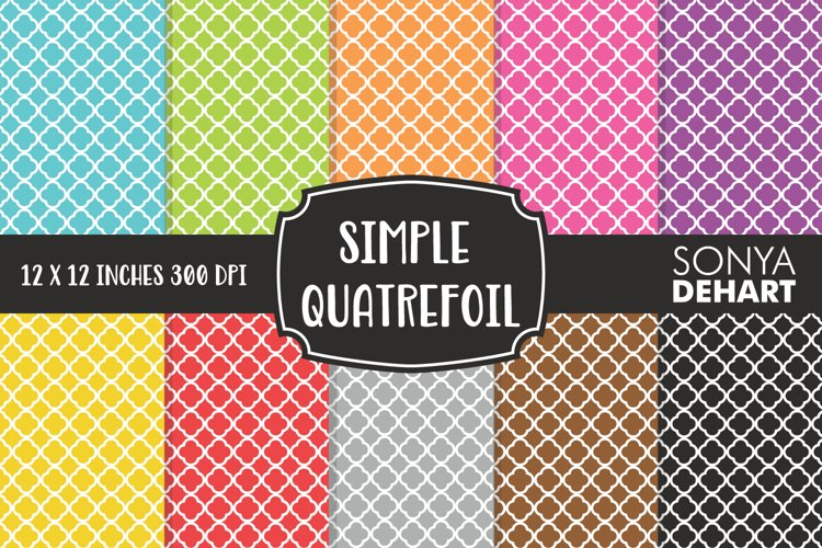 Simple Quatrefoil Moroccan Trellis Digital Paper Pack example image 1