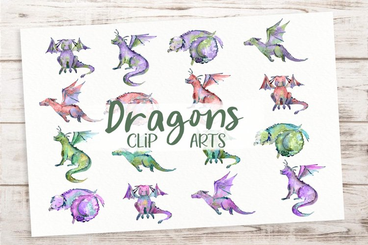 Cute Colored Dragons - Watercolor Clip Art Set