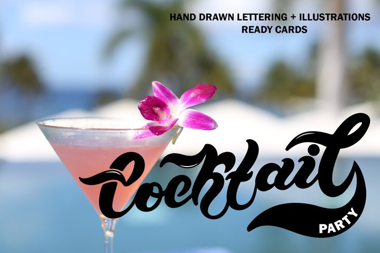 Cocktail Party Set. Lettering example image 1