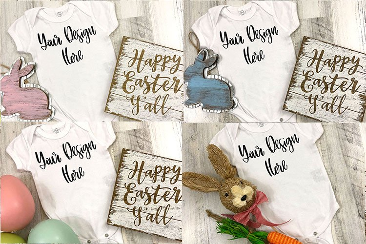Easter Bundle - Rabbit Skins Baby One Piece Mockup Photos