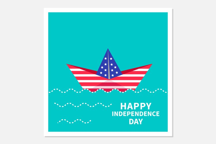 Paper boat. Happy independence day. Vector example image 1