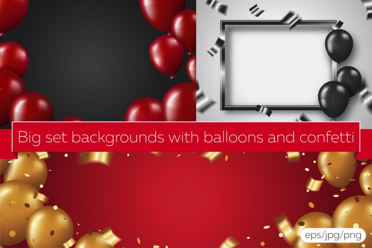 Big set backgrounds with balloons and confetti