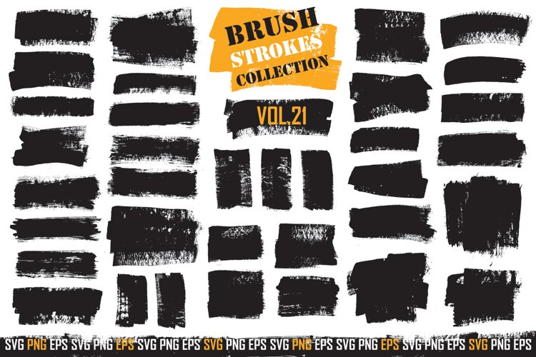 Brush Strokes SVG PNG Pack   Transparent Background   Vol.21 example image 1
