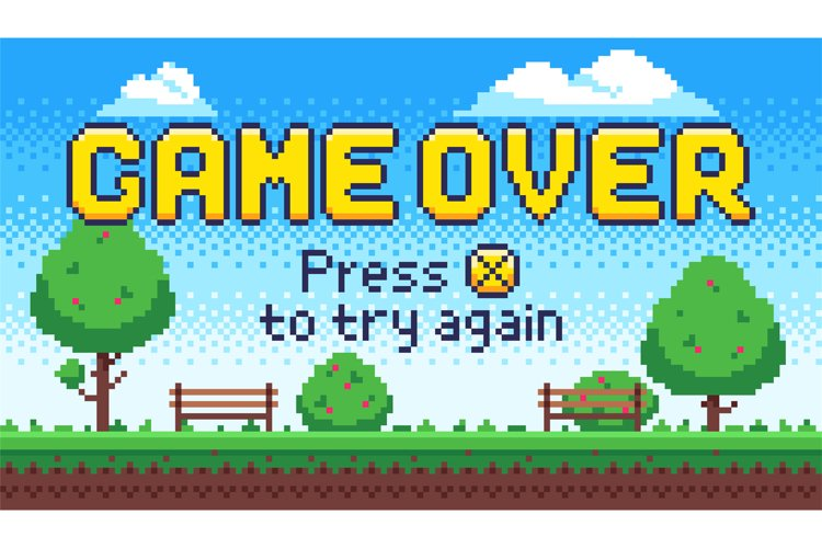 Game over screen. Retro 8 bit arcade games, old pixel video example image 1