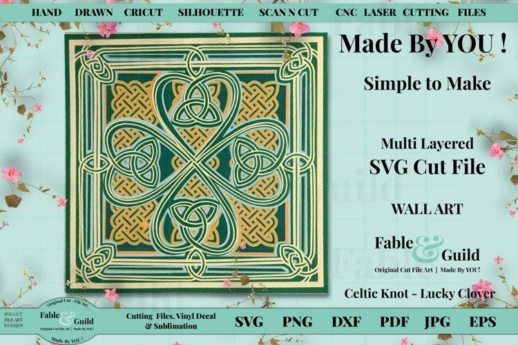 3D Celtic Knot Shamrock Lucky Clover Layered SVG Cut File