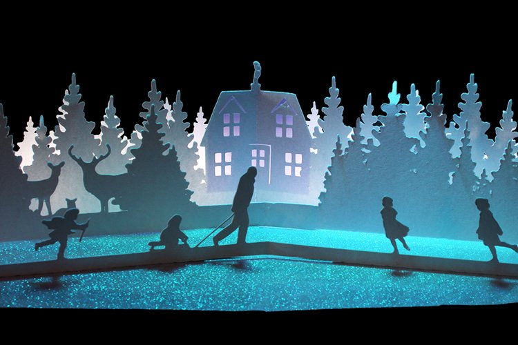 winter cottage pop up card