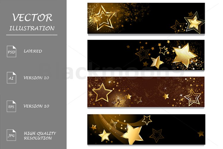 Four Banners with Stars example image 1