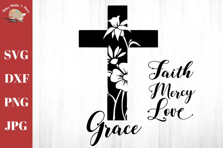 Cross svg bundle - Cross with flowers - Christian faith svg example image 1