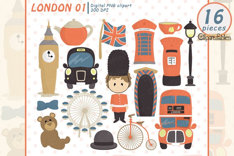 Cute LONDON clipart, Europe clip art, Travel art - INSTANT example image 1