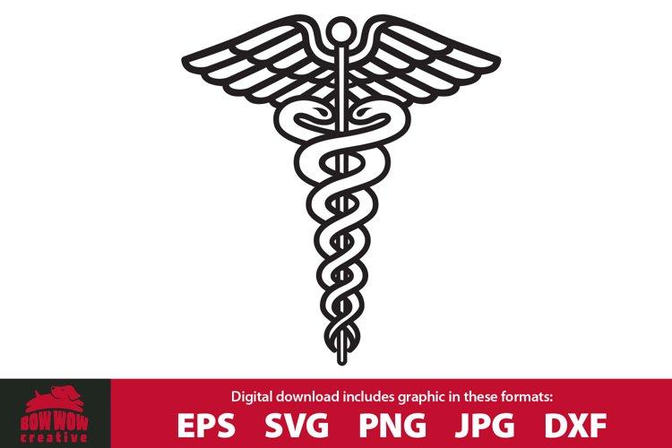 Caduceus Medical Staff - SVG Cutting File & Clipart