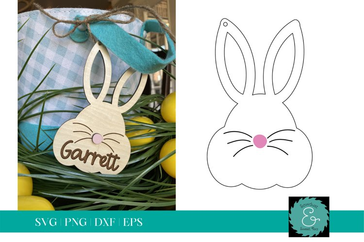 Easter Basket Tag SVG, Bunny Tag SVG, Glowforge SVG