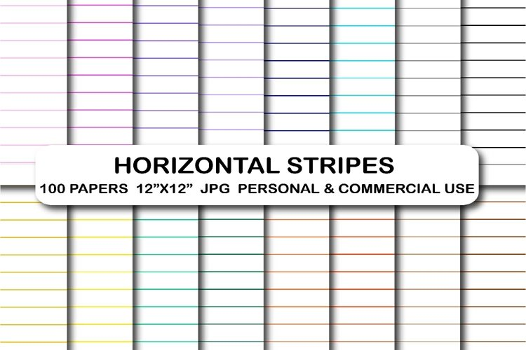 100 Stripes digital papers Horizontal lines Stripes pattern example image 1