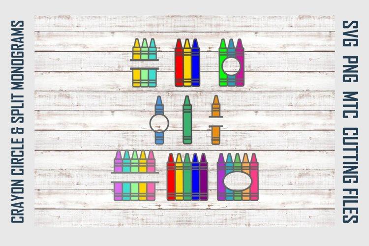 Crayon Circle & Split Monograms SVG Cut File Bundle example image 1
