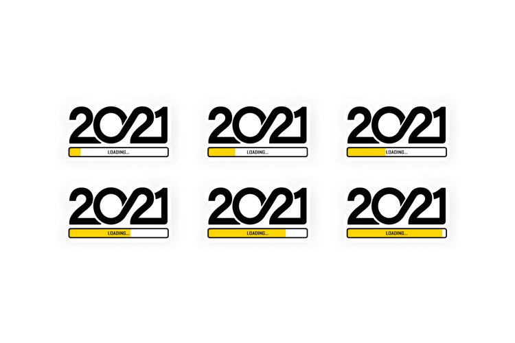 Set progress bar showing loading of 2021. Vector example image 1