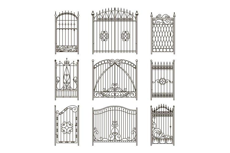 Iron gates with decorative elements. Vector monochrome pictu example image 1