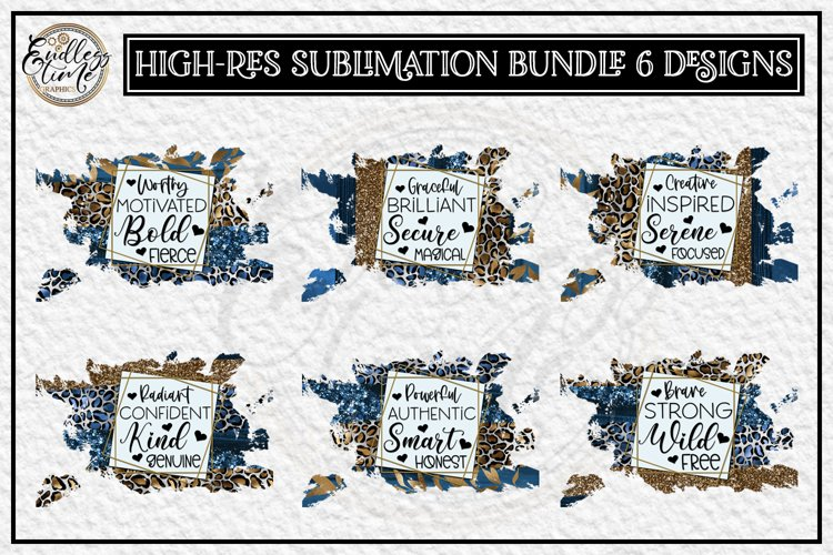 Motivational Sublimation Bundle | 6 Navy Leopard Designs