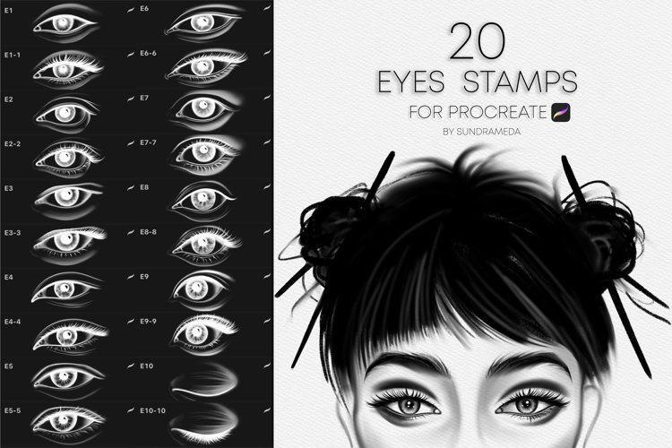Realistic Eyes Stamps for Procreate example image 1