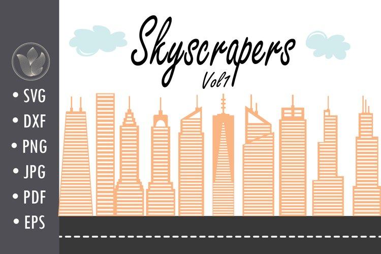 Skyscrapers Svg cut file, Clouds cut file