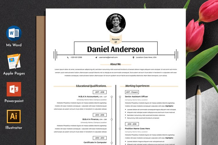 Clean Resume Cv Template in Editable Word Apple Pages Format example image 1