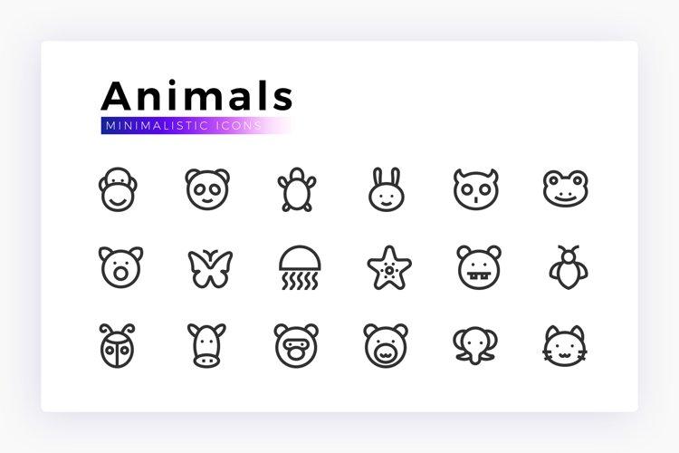 Animals Minimalistic Vector Icon Set example image 1